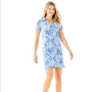 Lilly Pulitzer Blue Sadie Knit Polo Dress Turtle M
